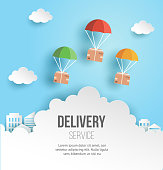 Fast delivery and logistic service concept illustration, package boxes are flying on parachutes, paper art style, vector template.
