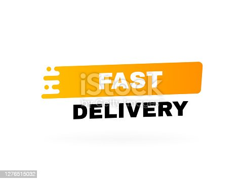 istock Fast delivery badge. Logo design. Banner template design for shipping, delivery and moving company. Modern vector illustration 1276515032