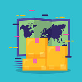 cardboard boxes world map fast delivery business vector illustration