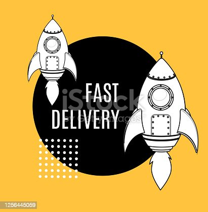 Fast Delivery Service Concept and Rocket Ship with Flame Banner Ad Contour Linear Style. Vector illustration