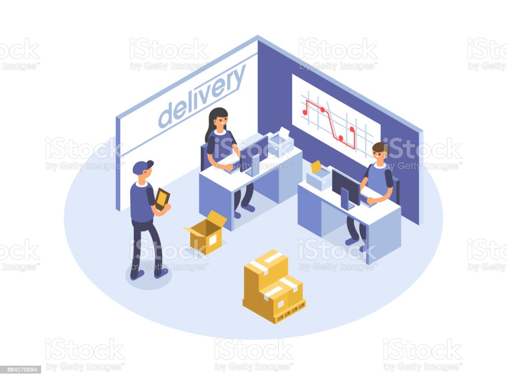 Fast delivery concept. Office workers, logistic operators. Product goods shipping transport. Isometric 3d illustration. royalty-free fast delivery concept office workers logistic operators product goods shipping transport isometric 3d illustration stock vector art & more images of arts culture and entertainment