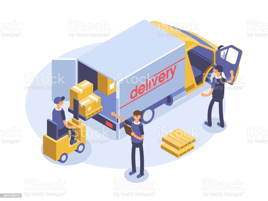 Fast delivery concept. Van, man and cardboard boxes. Product goods shipping transport. Isometric 3d illustration. royalty-free fast delivery concept van man and cardboard boxes product goods shipping transport isometric 3d illustration stock vector art & more images of arts culture and entertainment