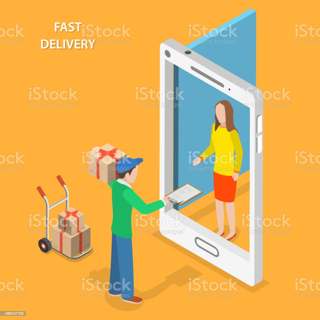 Fast delivery flat isometric vector concept. vector art illustration