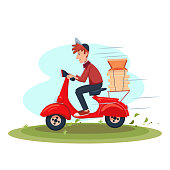 Fast Delivery food service by courier. Young Man riding scooter with pizza. Vector cartoon character illustration