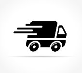 Illustration of fast delivery icon on white background