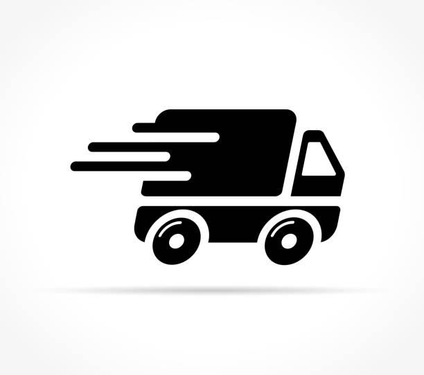 schnelle lieferung-symbol auf weißem hintergrund - fahrzeug fahren stock-grafiken, -clipart, -cartoons und -symbole