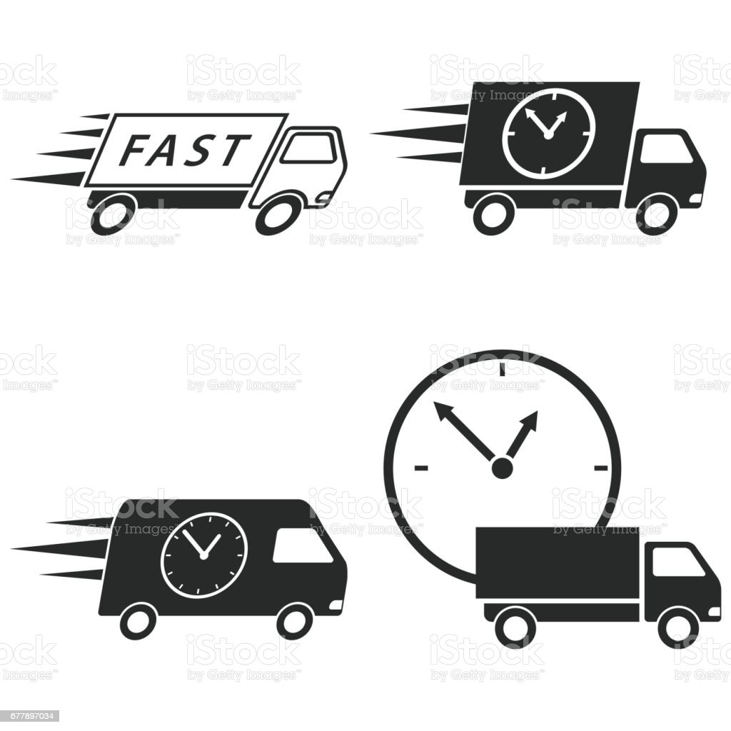 Fast delivery icon set. royalty-free fast delivery icon set stock vector art & more images of art