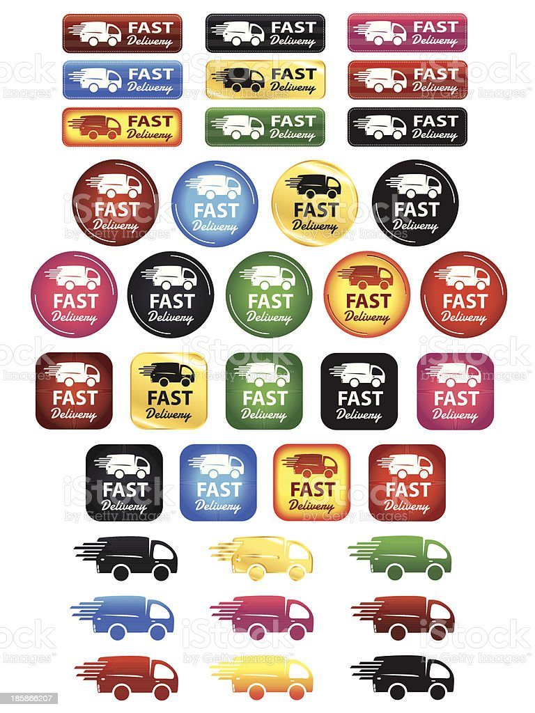 Fast Delivery Icons And Buttons vector art illustration