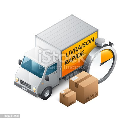 istock Fast delivery in French : Livraison rapide 913693496