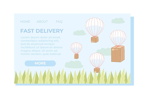 Fast Delivery Landing Page, Boxes Flying in Sky.