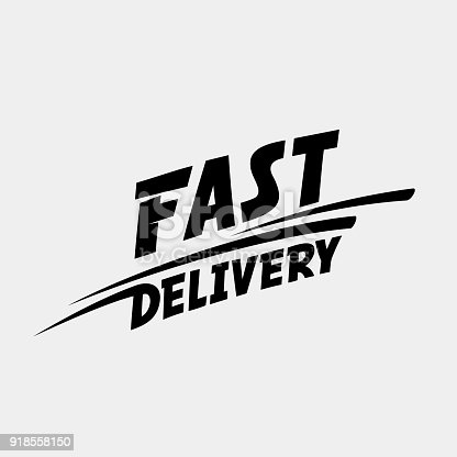 istock Fast delivery logo. Fast delivery typographic monochrome inscription 918558150