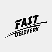 Fast delivery logo. Fast delivery typographic monochrome inscription. Vector illustration.