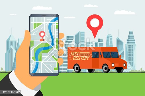 641289780 istock photo Fast delivery lorry truck ordering service app concept. Hand holding smartphone with geotag gps location pin arrival address on city street and express cargo shipping. Online application vector 1218967042