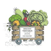 Fast delivery of fresh vegetables. The box on wheels with vegetables. Delivery of organic food. Conceptual image, drawn in ink