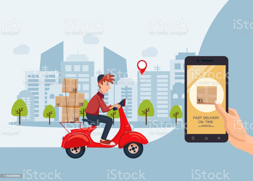 Fast Delivery On Time Service By Scooter With Courier Banner Mobile Application Hand Holding Smartphone With Online Internet Order Flat Cartoon Vector Illustration Stock Illustration Download Image Now Istock