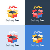 Fast delivery, open box, shipping order, distribution services, pick up point, receive postal mail, collect parcel, vector flat icon
