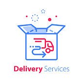 Fast delivery, linear design, open box and truck sign, shipping order, distribution services, pick up point, receive postal mail, collect parcel, vector line icon