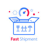 Fast delivery, linear design, open box, shipping order, distribution services, pick up point, receive postal mail, collect parcel, vector line icon