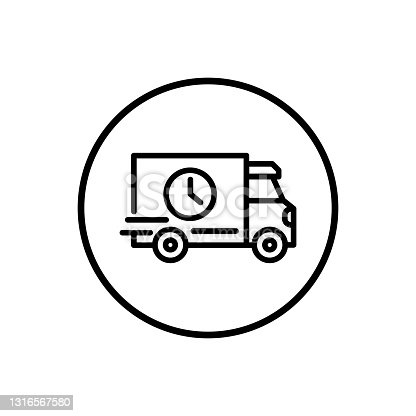 istock Fast delivery or truck black icon. Silhouette shipping truck. Trendy flat style isolated symbol. For: illustration, minimalistic, logo, mobile, app, emblem, design, web, site, ui, ux. Vector EPS 10 1316567580