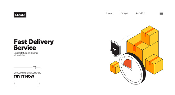 Fast Delivery Service Concept Isometric Web Banner, Three Dimensional Design for Posters, Covers and Banners
