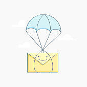 Fast Delivery Service, Inbox Mail messages or E-mail, Parcels Delivery, delivery of letters and parcels, email marketing. Flying from the sky on a parachute envelope. Isolated vector illustration