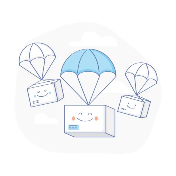 stockillustraties, clipart, cartoons en iconen met snelle leveringsservice, percelen levering - vector illustratie - scheepvaart