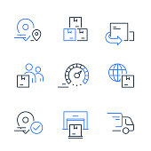 Fast delivery service, truck transportation, distribution center, receive order box, send parcel, purchase shipment, move or relocate, vector thin line icon set