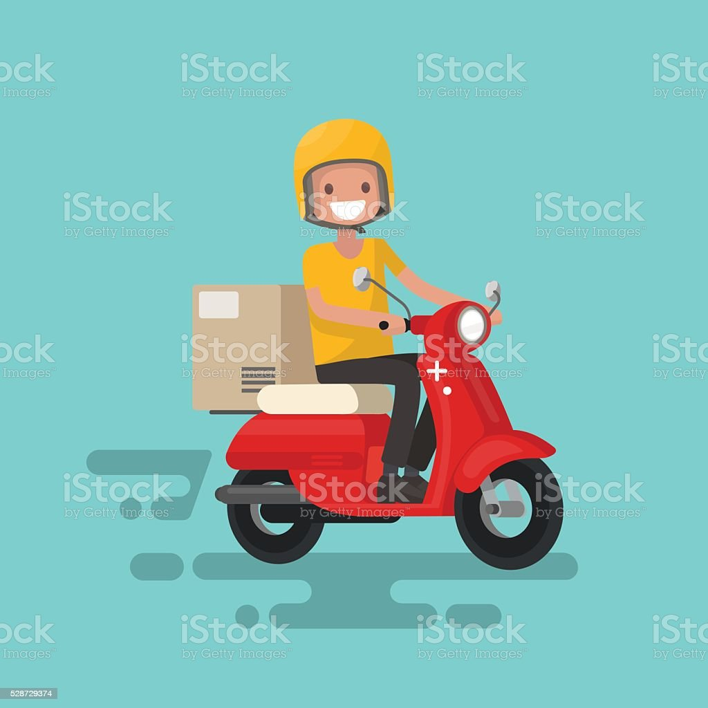 Fast delivery. The guy on the bike in a hurry vector art illustration