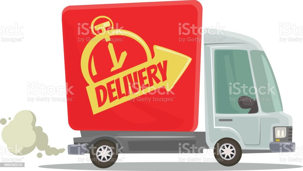 Fast delivery truck isolated red car moving vector art illustration