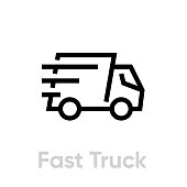 Fast Delivery Truck vector icon. Shipping truck rides fast with stripes of speed. Editable line for apps and websites.