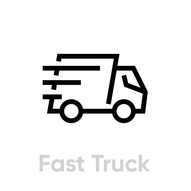 Fast Delivery Truck vector icon. Shipping truck rides fast with stripes of speed. Editable line vector art illustration