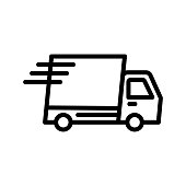 istock Fast delivery truck vector icon 1220396352