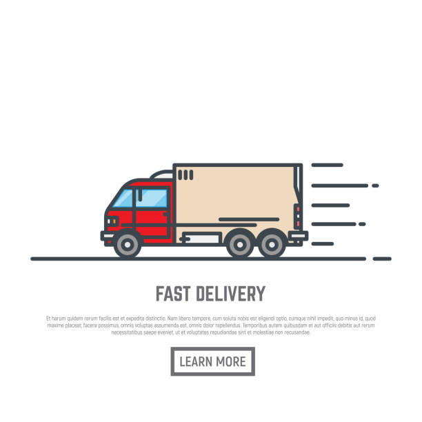 fast delivery van - delivery van stock illustrations, clip art, cartoons, & icons