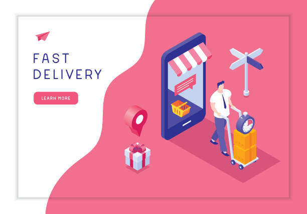fast delivery - kosz na zakupy stock illustrations