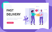 Delivery man  and customer at door. Can use for web banner, infographics, hero images. Flat modern vector illustration.
