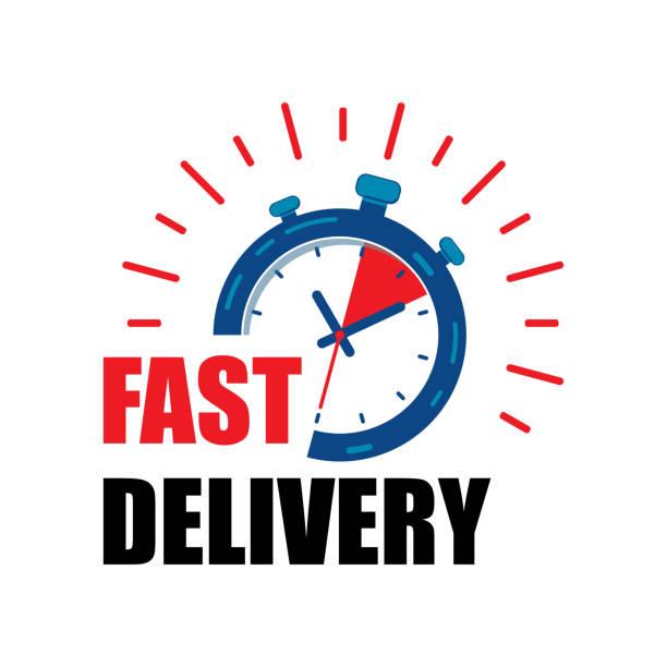 illustrations, cliparts, dessins animés et icônes de service de montre de livraison rapide avec des flèches rouges. express livraison rapide service chronomètre icône vecteur eps10.  rapide icône de la montre de livraison. - chronomètre