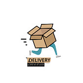 Fast delivery with a running box. Logo template design. Vector illustration