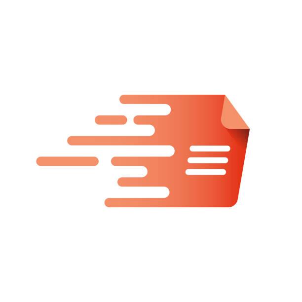 ilustraciones, imágenes clip art, dibujos animados e iconos de stock de documento rápido, logo de la página de velocidad. - velocidad
