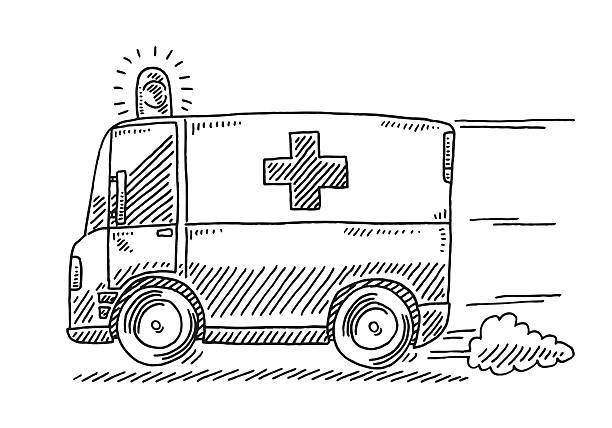 Fast Driving Ambulance Drawing Hand-drawn vector drawing of a Fast Driving Ambulance. Black-and-White sketch on a transparent background (.eps-file). Included files are EPS (v10) and Hi-Res JPG. transportation stock illustrations