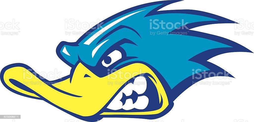 fast duck mascot vector art illustration