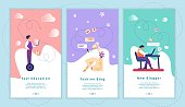 Fast Education, Fashion Blog, New Blogger Mobile App Page Onboard Screen Set for Website. Smart Technologies in Work and Studying. Blogging, Gadgets Cartoon Flat Vector Illustration, Vertical Banner