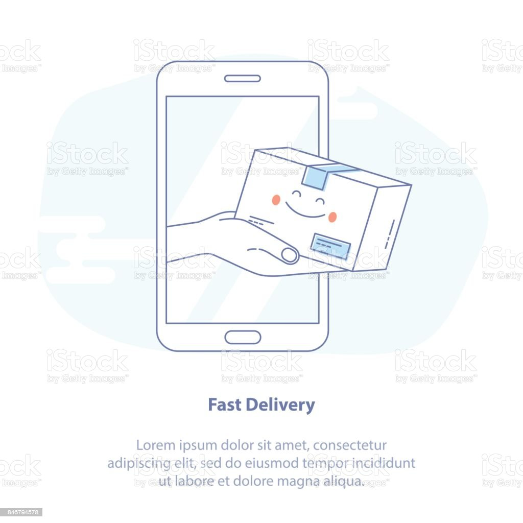 Fast Express Online Delivery Service. Hands holding a package box out of mobile phone screen - Isolated Vector Illustration. vector art illustration