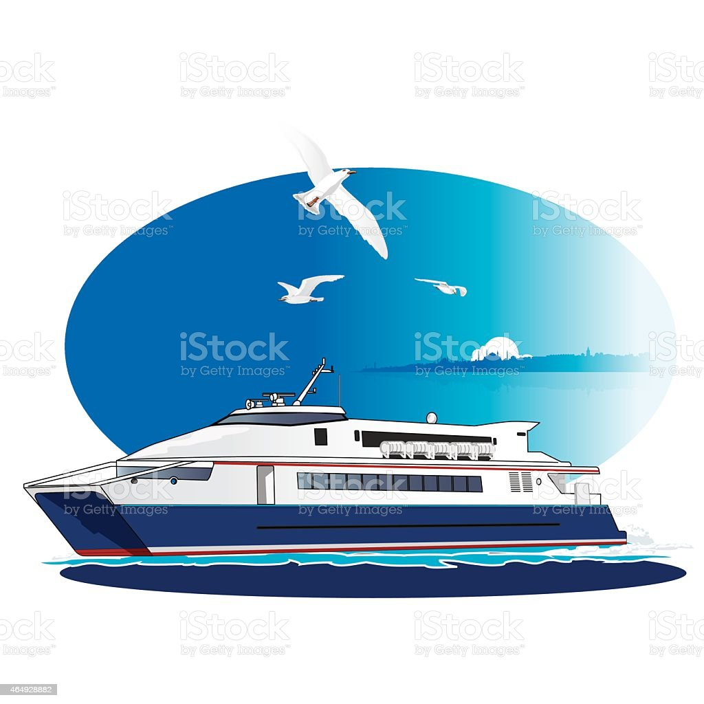 Fast Ferry, Liner vector art illustration