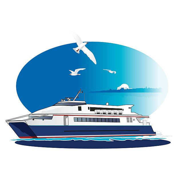 Fast Ferry, Liner vector art illustration