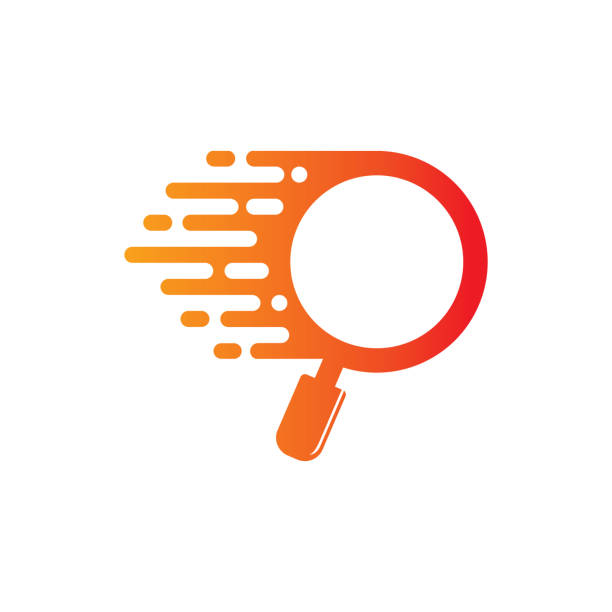 ilustraciones, imágenes clip art, dibujos animados e iconos de stock de plantilla de diseño de logotipo buscador rápido - logotipos de investigación
