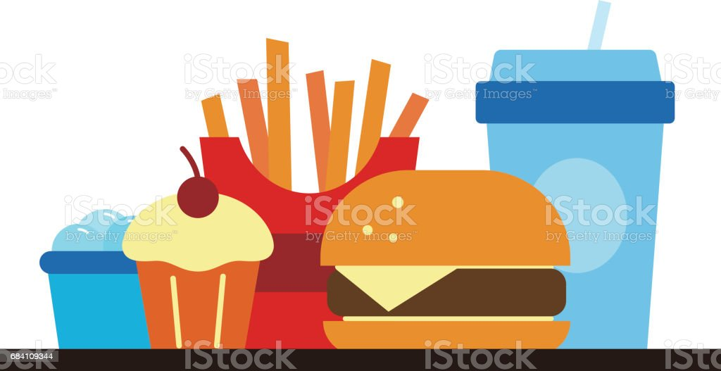 Fast food and drink for lunch or dinner, vector illustration vector art illustration