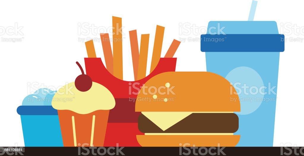 Comida rápida y bebida para almuerzo o cena, ilustración vectorial - ilustración de arte vectorial
