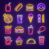 Fast food and drink neon sign for fastfood restaurant, burger cafe or pizzeria design. Hamburger, hot dog and fries, cheeseburger, chicken and pizza, soda, coffee and sushi glowing light signboard
