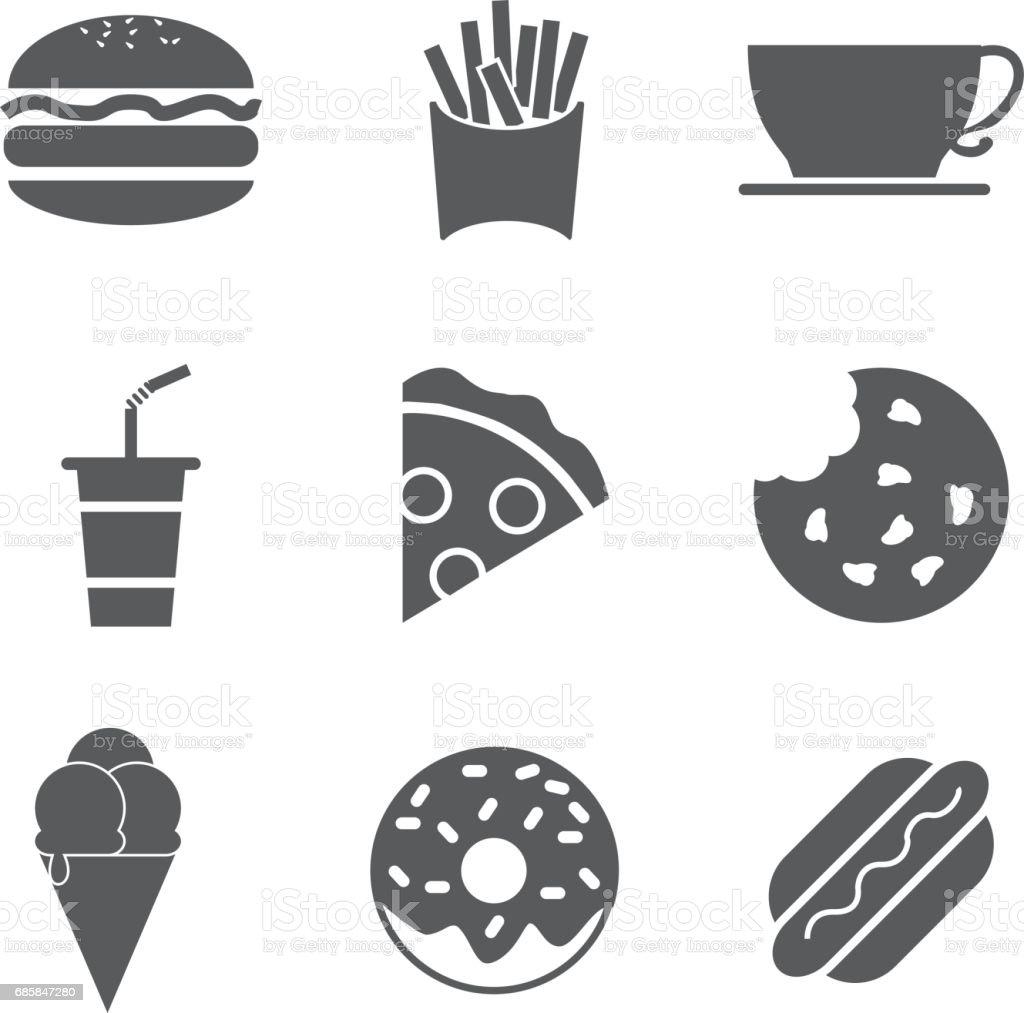 Fast Food e bebidas Icon Set - ilustração de arte em vetor