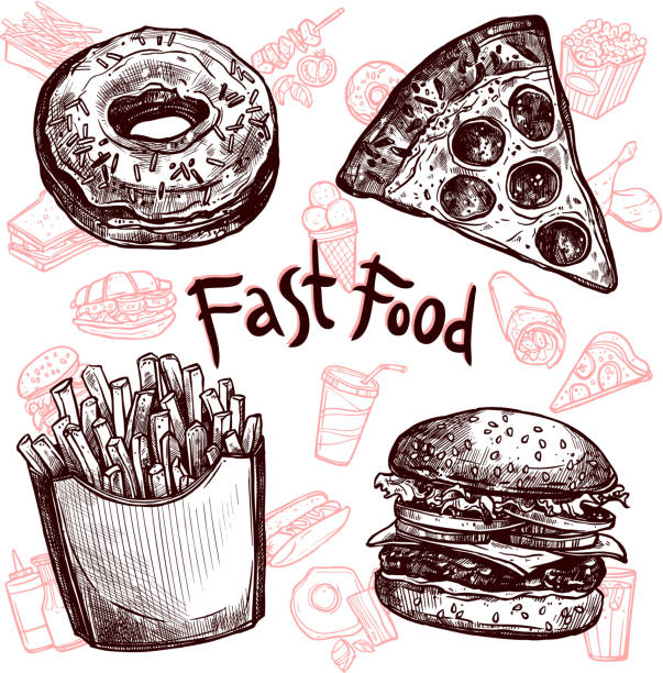фаст-фуд и напитки эскиз набор - burger and chicken stock illustrations